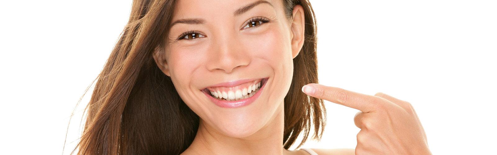 Happy girl having dental veneers