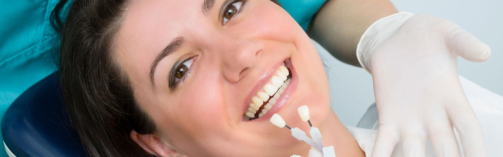 A patient trying dental veneers at Bella Hanono Family Dentistry